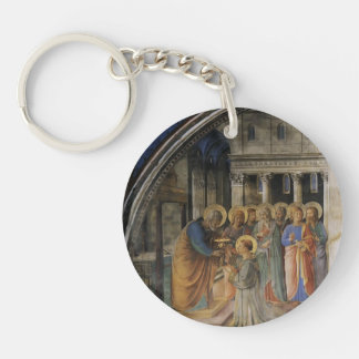 Fra Angelico- St. Peter Consacrates Stephen Deacon Single-Sided Round Acrylic Key Ring