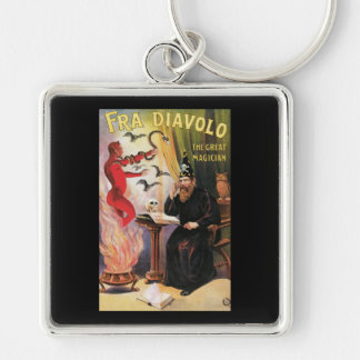 Fra Diavolo ~ The Great Magician Vintage Magic Act Silver-Colored Square Key Ring