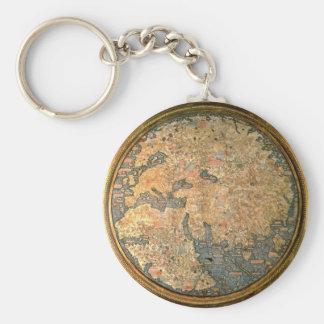 Fra Mauro world map Basic Round Button Key Ring