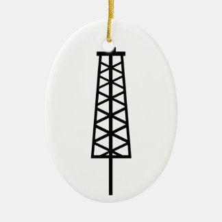 Fracking Tower Ceramic Oval Decoration