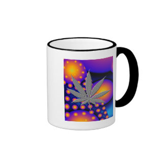 Fractal2s  with embosed pot leaf coffee mugs