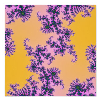 Fractal Arabesque - green and purple on yellow Poster