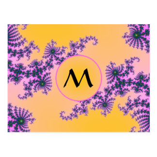 Fractal Arabesque with Monogram on Yellow Postcard