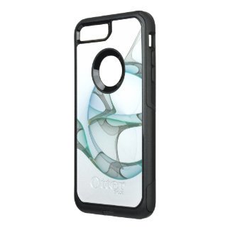 Fractal Art Blue Turquoise Gray Abstract Elegance OtterBox Commuter iPhone 8 Plus/7 Plus Case