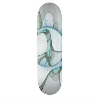 Fractal Art Blue Turquoise Gray Abstract Elegance Skateboards