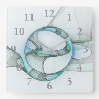 Fractal Art Blue Turquoise Gray Abstract Elegance Square Wall Clock