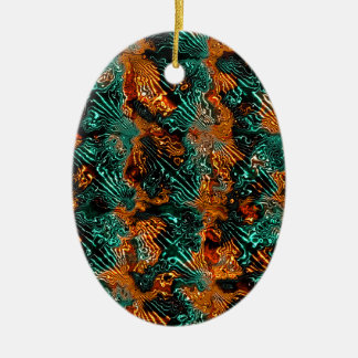 Fractal Art Fabric. Abstract Design. Cool, Awsome Ceramic Oval Decoration