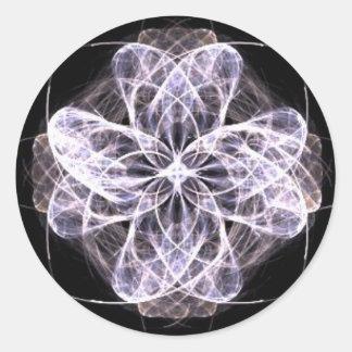 Fractal Art Flower with Button Center Round Sticker