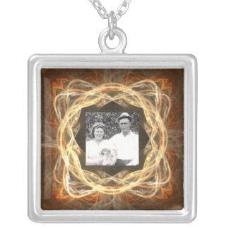 Fractal Art Framed Photo Silver Plated Necklace