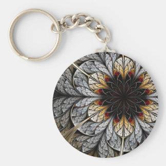 Fractal Art Keychain: Flower II Basic Round Button Key Ring