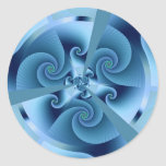 Fractal Blue Accordion Round Stickers