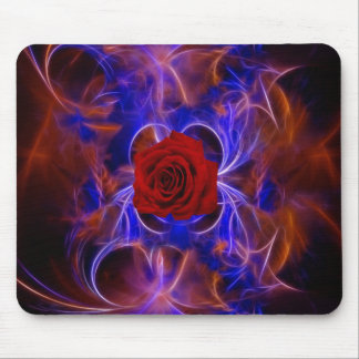Fractal blue and red rose mousepad