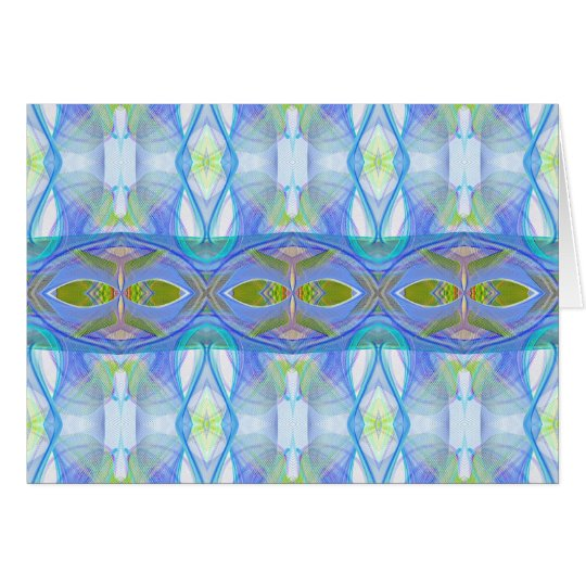 fractal blue ethnic pattern. card