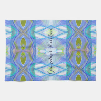 fractal blue ethnic pattern. tea towel
