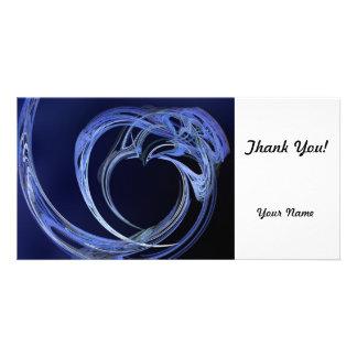 Fractal Blue Heart Custom Photo Card