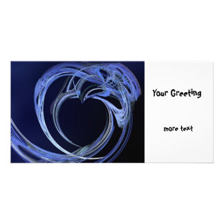 Fractal Blue Heart Picture Card