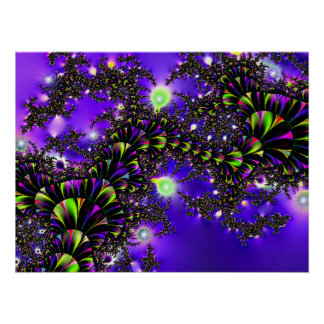Fractal Blue Stairway to Heaven Poster