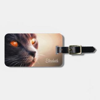 Fractal cat on bright lights bag tag