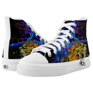 Fractal Colorful Squares Tiled Dreamy Pattern High Tops