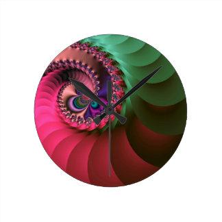 fractal Coloured  Spirals. Round Clock