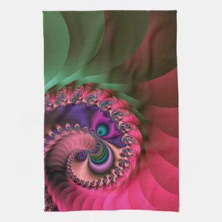 fractal Coloured  Spirals. Tea Towel