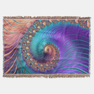 Fractal colourful spiral rug throw blanket
