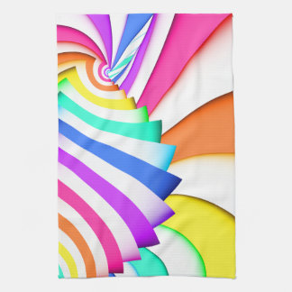 Fractal Curved Stripes Tea Towel