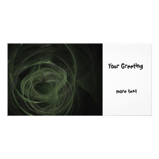Fractal Dark Green Love Custom Photo Card