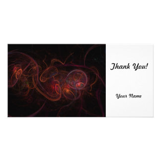 Fractal Dark Red Photo Card Template