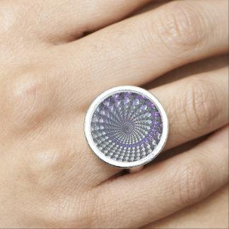 Fractal designed silver plated ring