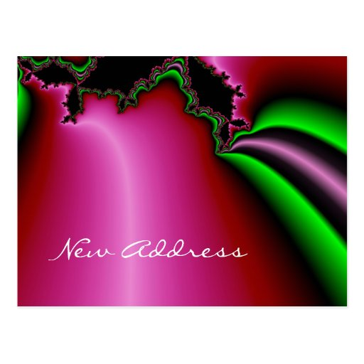 Fractal Dream in red,pink and green New Address Post Cards
