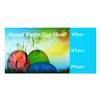 Fractal Easter Egg Hunt Invites Personalized Photo Card