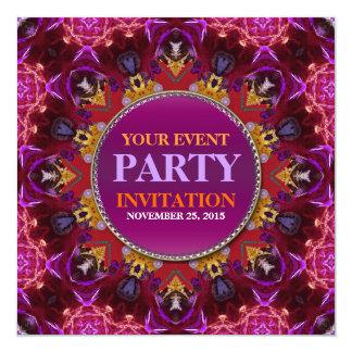 "Fractal Embroidery mandala Party Invitation 5.25"" Square Invitation Card"