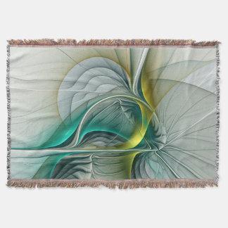 Fractal Evolution, Golden Turquoise Abstract Art