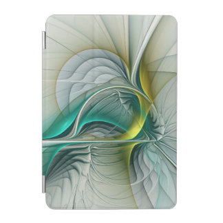 Fractal Evolution, Golden Turquoise Abstract Art iPad Mini Cover