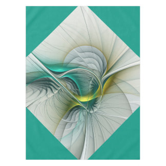 Fractal Evolution, Golden Turquoise Abstract Art Tablecloth