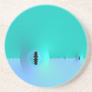 Fractal Farm in Blue & Turquoise Coaster