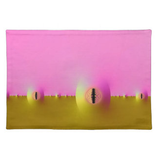 Fractal Farm in Pink and Gold Placemats