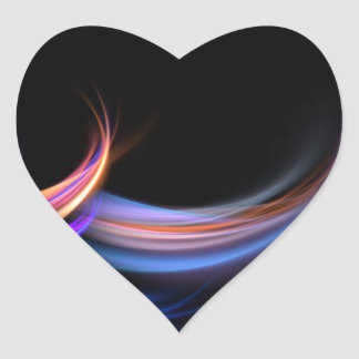 Fractal Feathers Design Heart Sticker
