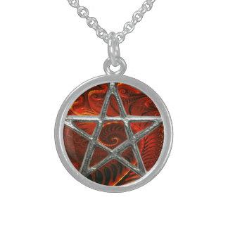Fractal Fire Pentagram Pentacle Wicca Necklace
