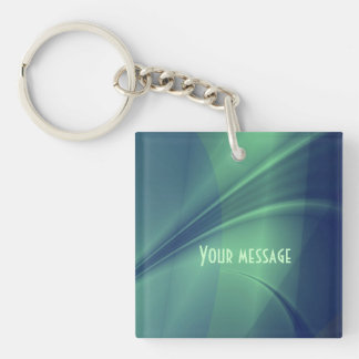 "Fractal ""Flash of Thought"" Keychain square-2 sides"