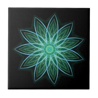 Fractal Flower-Green-geometric floral fractal art Tile