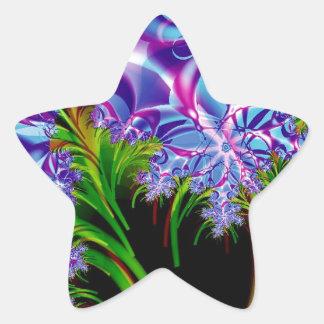 Fractal flowers star sticker