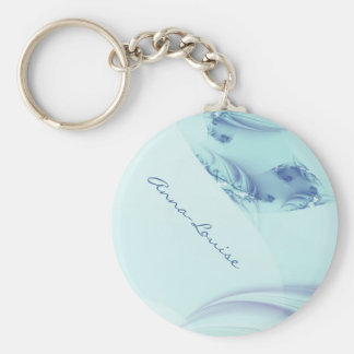 "Fractal ""Frozen Blue"" Basic Round Button Key Ring"