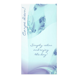"Fractal ""Frozen Blue"" Customized Photo Card"