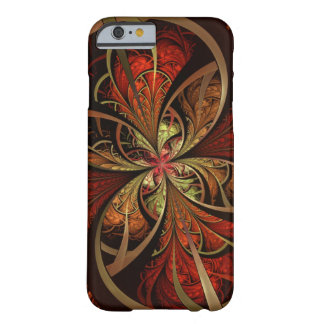 Fractal Geometric Pattern Gold Red Barely There iPhone 6 Case