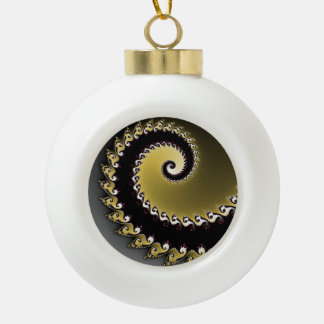Fractal. Gold, silver, black. Ceramic Ball Christmas Ornament