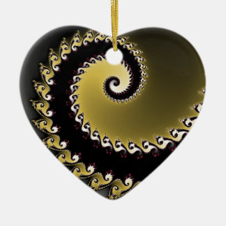 Fractal. Gold, silver, black. Ceramic Heart Decoration