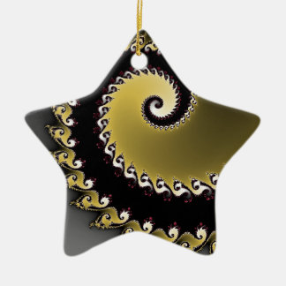 Fractal. Gold, silver, black. Ceramic Star Decoration