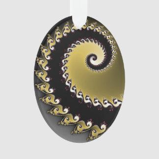 Fractal. Gold, silver, black. Ornament